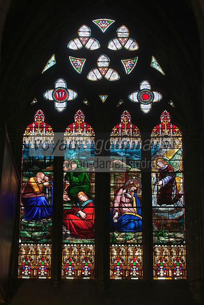 Europe/France/Aquitaine/64/Pyrénées-Atlantiques/Pays-Basque/Bayonne:  Cathédrale Sainte-Marie - VItrail de la Chapelle Saint-Jérôme représentant la guérison de la fille de la Cananéenne