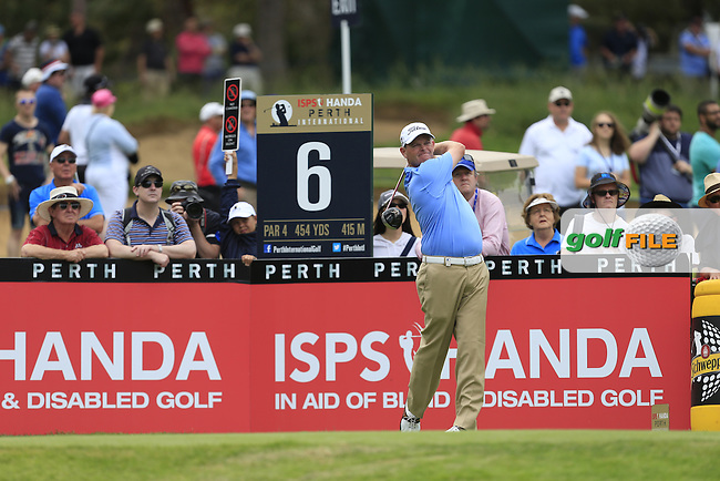 David Drysdale (SCO) on the 6th tee during Round 3 of the ISPS HANDA Perth International at the Lake Karrinyup Country Club on Saturday 25th October 2014.<br /> Picture:  Thos Caffrey / www.golffile.ie