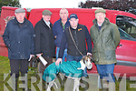COURSING: Hoping to do good on the first day coursing in Kilflynn on Friday, L-r: Tom Kennedy (Lixnaw), Pat Lonergan, Denis Curtin (Listowel), Mat Dillon (Listowel) with greyound (Doleith Legacy), and Ger O'Reilly