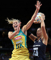 16.08.2015 Silver Ferns Maria Tutaia and Australia's Laura Geitz in action during the Silver Ferns v Australia Gold Medal netball match at the 2015 Netball World Cup at All Phones Arena in Sydney Australia. Mandatory Photo Credit ©Michael Bradley.