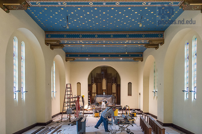 Jul. 9, 2015; Renovation work on Morrissey Hall chapel. (Photo by Matt Cashore/University of Notre Dame)