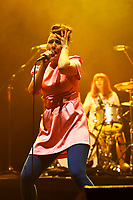 LONDON, ENGLAND - JUNE 10: Kathleen Hanna of 'Bikini Kill' performing at Brixton Academy on June 10, 2019 in Brixton, England.<br /> CAP/MAR<br /> ©MAR/Capital Pictures