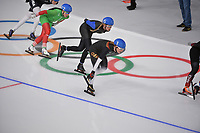 OLYMPIC GAMES: PYEONGCHANG: 24-02-2018, Gangneung Oval, Long Track, Mass Start Ladies, Saskia Alusalu (EST), Claudia Pechstein (GER), ©photo Martin de Jong