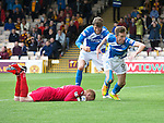 Motherwell v St Johnstone&hellip;13.08.16..  Fir Park  SPFL<br />Steven MacLean celebrates his goal with Murray Davidson as keeper Craig Samson is beateb<br />Picture by Graeme Hart.<br />Copyright Perthshire Picture Agency<br />Tel: 01738 623350  Mobile: 07990 594431