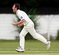 M Tucker of Hornsey celebrates dismissing Bessborough batsman A Mehta during the Middlesex County Cricket League Division Three game between Hornsey and Bessborough at Tivoli Road, Crouch End on Sat June 13, 2009