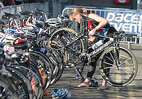 11 AUG 2007 - NOTTINGHAM, UK - Helen MacVicker prepares in transition - British Club Relay Triathlon Championships. (PHOTO (C) NIGEL FARROW)