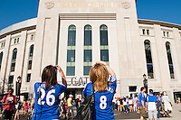 Chelsea FC fans take photos of Yankee Stadium prior to the match between Chelsea FC and Paris Saint-Germain during the 2012 Herbalife World Football Challenge at Yankee Stadium in New York, NY, on July 22, 2012.