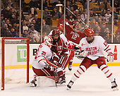 Jake Oettinger (BU - 29), Phil Zielonka (Harvard - 72), Dante Fabbro (BU - 17) - The Harvard University Crimson defeated the Boston University Terriers 6-3 (EN) to win the 2017 Beanpot on Monday, February 13, 2017, at TD Garden in Boston, Massachusetts.