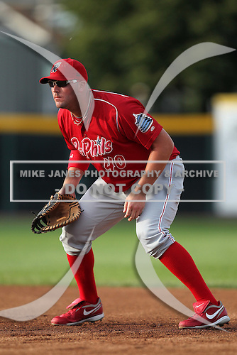 Reading Phillies first baseman Matt Rizzotti (40) during a game vs. the Erie Seawolves at Jerry Uht Park in Erie, Pennsylvania;  July 19, 2010.   Reading defeated Erie 6-1.  Photo By Mike Janes/Four Seam Images