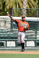 Baltimore Orioles third baseman Jomar Reyes (60) during an Instructional League game against the Tampa Bay Rays on September 15, 2014 at Ed Smith Stadium in Sarasota, Florida.  (Mike Janes/Four Seam Images)