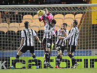 Player/Coach Jamie Langfield saves in the St Mirren v Falkirk Scottish Professional Football League Ladbrokes Championship match played at the Paisley 2021 Stadium, Paisley on 1.3.16.