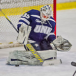 13 February 2015: University of New Hampshire Wildcat Goaltender Vilma Vaattovaara, a Junior from Veikkola, Finland, makes a second period save against the University of Vermont Catamounts at Gutterson Fieldhouse in Burlington, Vermont. The Lady Wildcats defeated Vermont 4-2 in the first game of their weekend Hockey East series. Mandatory Credit: Ed Wolfstein Photo *** RAW (NEF) Image File Available ***