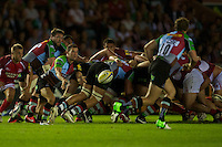Karl Dickson of Harlequins passes during the Aviva Premiership match between Harlequins and London Welsh at the Twickenham Stoop on Friday 7th September 2012 (Photo by Rob Munro)