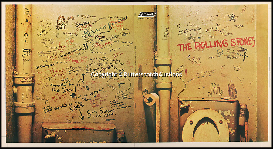 BNPS.co.uk (01202 558833)<br /> Pic: ButterscotchAuctions/BNPS<br /> <br /> A very rare printer's proof sheet of the controversial and now legendary rejected album cover (the 'toilet cover') to Beggars Banquet.<br /> <br /> A fascinating selection of Rolling Stones' album cover ideas from the late 1960s and 1970s which were rejected - and one which sparked a major controversy - have emerged for auction.<br /> <br /> Designs which never made it to the printers include a cover for a 1970s greatest hits album where the band are chiselled into rock like the US presidents' on Mount Rushmore with the faces of Mick Jagger and Keith Richards replacing George Washington and Abraham Lincoln. <br /> <br /> There is also the controversial original print for the cover of their 1968 album Beggars Banquet which depicts a grimy bathroom stall covered in graffiti.