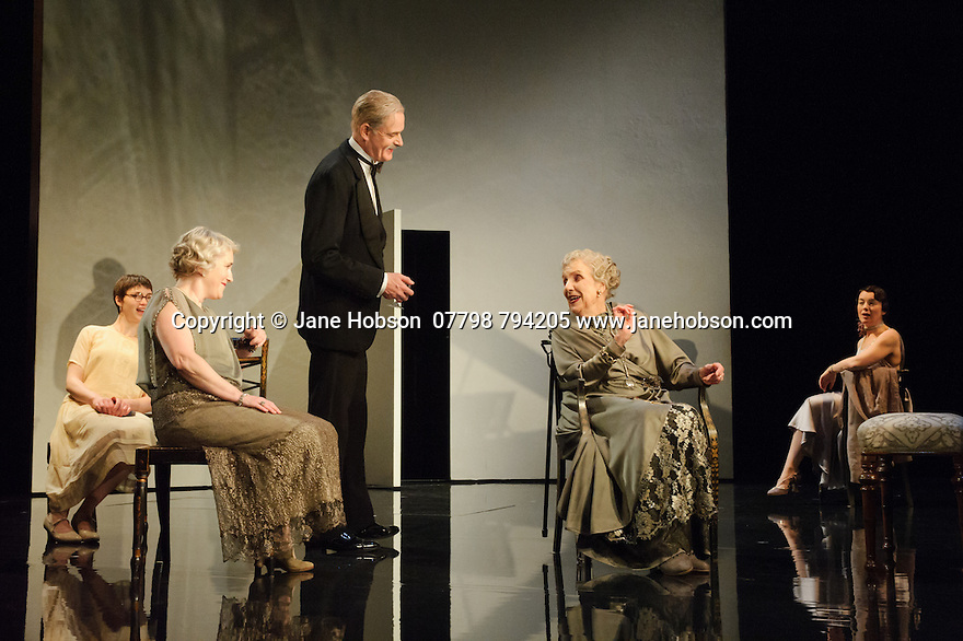 London, UK. 09.11.2015. WASTE, by Harley Granville Barker, directed by Roger Michell, opens at the National Theatre. Picture shows: Emerald O'Hanrahan (Lucy Davenport), Sylvestra le Touzel (Frances Trebell), William Chubb (George Farrant), Doreen Mantle (Countess Mortimer), Olivia Williams (Amy O'Connell). Photograph © Jane Hobson.