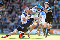 Zach Mercer of Bath Rugby takes on the Exeter Chiefs defence. Gallagher Premiership match, between Exeter Chiefs and Bath Rugby on March 24, 2019 at Sandy Park in Exeter, England. Photo by: Patrick Khachfe / Onside Images