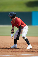 Romy Gonzalez (6) of the Kannapolis Intimidators takes his lead off of first base against the Lexington Legends at Kannapolis Intimidators Stadium on May 15, 2019 in Kannapolis, North Carolina. The Legends defeated the Intimidators 4-2. (Brian Westerholt/Four Seam Images)