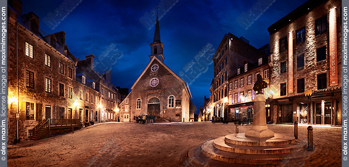 Nighttime panorama of Royal Square with Notre-Dame-des-Victoires Church and statue of Louis XIV in Old Quebec City. Quebec, Canada. Place Royale, Ville de Québec.