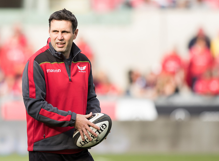 Scarlets coach Stephen Jones during the pre match warm up<br /> <br /> Photographer Simon King/CameraSport<br /> <br /> Guinness Pro14 Round 1 - Scarlets v Southern Kings - Saturday 2nd September 2017 - Parc y Scarlets - Llanelli, Wales<br /> <br /> World Copyright &copy; 2017 CameraSport. All rights reserved. 43 Linden Ave. Countesthorpe. Leicester. England. LE8 5PG - Tel: +44 (0) 116 277 4147 - admin@camerasport.com - www.camerasport.com
