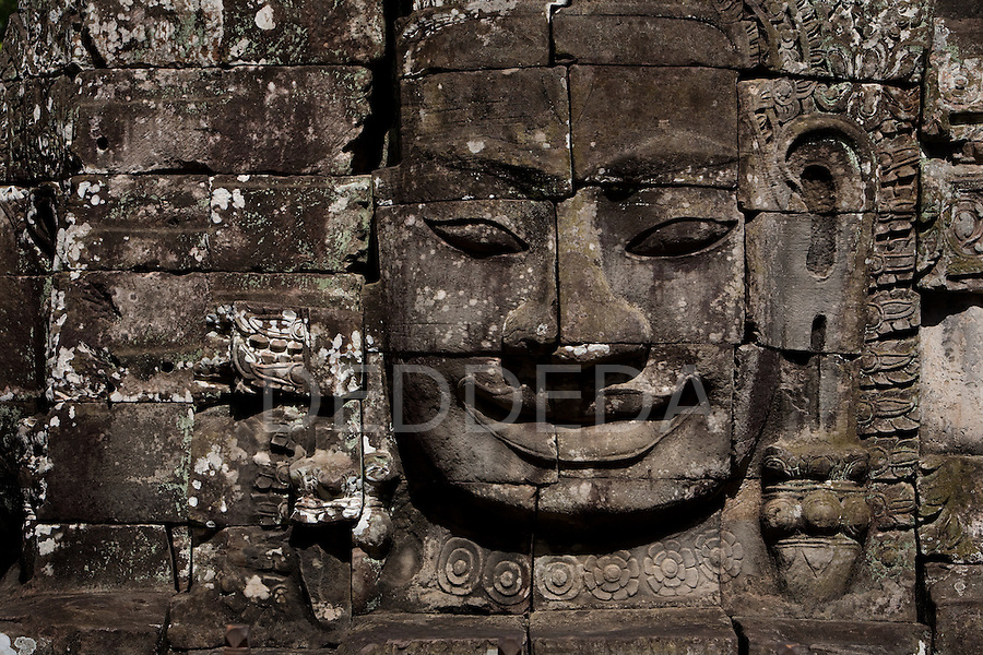 One of the many faces of stone in the Bayon Temple in the ancient city of Angkor Thom, in northwestern Cambodia, near Siem Reap.
