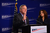 Washington, DC - January 24, 2017: U.S. Senator Richard Durbin (D-IL) speaks about Russian influence and interference in the 2016 presidential election at the Center for American Progress in the District of Columbia, January 24, 2017, as CAP president Neera Tanden moderated a question and answer session.  (Photo by Don Baxter/Media Images International)