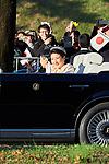 Japanese Emperor Naruhito and Empress Masako wave to spectators during the royal motorcade in Tokyo, Japan on Sunday, November 10, 2019. (Photo by AFLO)