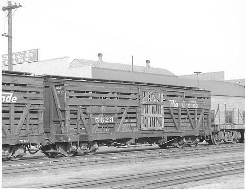 Double deck stock car 5623.<br /> D&amp;RGW    Taken by Richardson, Robert W. - 4/1953
