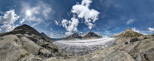Switzerland, Valais, Western Europe, Aletsch Glacier (UNESCO world heritage site). Panorama view nr. the Märjelensee. Note: This is a digitally stitched panoramic image.