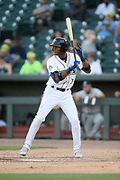 Third baseman Shervyen Newton (3) of the Columbia Fireflies bats in a game against the Rome Braves on Saturday, August 17, 2019, at Segra Park in Columbia, South Carolina. Rome won, 4-0. (Tom Priddy/Four Seam Images)