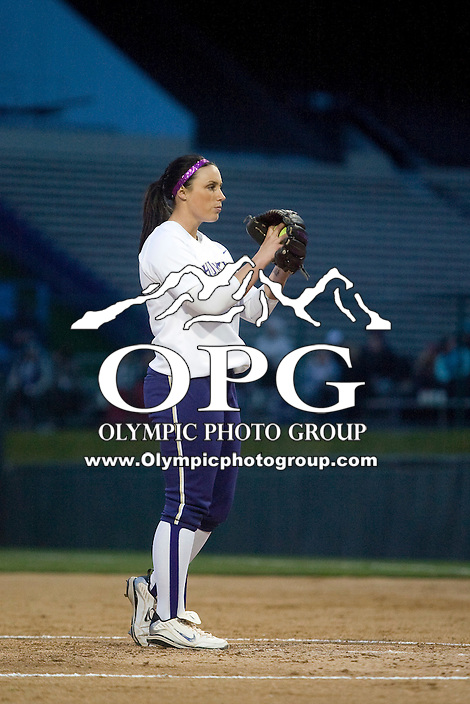 1 April 2010:  Washington Huskies pitcher Danielle Lawrie sets up on the mound against UCLA.  UCLA defeated Washington 1-0 at Husky Softball Stadium in Seattle, WA.