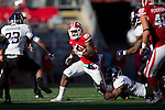 Wisconsin Badgers running back James White (20) carries the ball during an NCAA Big Ten Conference football game against the Northwestern Wildcats Saturday, October 12, 2013, in Madison, Wisc. The Badgers won 35-6. (Photo by David Stluka)