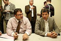 SAO PAULO, SP,06/06/2012 Fernando Haddad (PT). O pr&eacute;-candidato &agrave; Prefeitura de S&atilde;o Paulo, Fernando Haddad (PT) FOI recebido pela diretoria e coordenadores da APOGLBT (Associa&ccedil;&atilde;o da Parada do Orgulho GLBT de S&atilde;o Paulo), na manh&atilde; desta quarta-feira 6, na regi&atilde;o central de S&atilde;o Paulo.<br /> Na foto  presidente da APOGLBT, Fernando Quaresma e o  Fernando Haddad (PT)<br /> FOTO VAGNER CAMPOS BRAZIL PHOTO PRESS