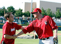 Mark Trumbo (Arkansas Travelers) is congratulated after winning the homerun derby at the 2009 Texas League All-Star game held at Dr. Pepper Ballpark, Frisco, TX - 07/01/2009. The game was won by the North Division, 2-1..Photo by:  Bill Mitchell/Four Seam Images