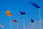 Colorful banners catch the brisk breezes blowing off the Atlantic Ocean on Block Island, RI.
