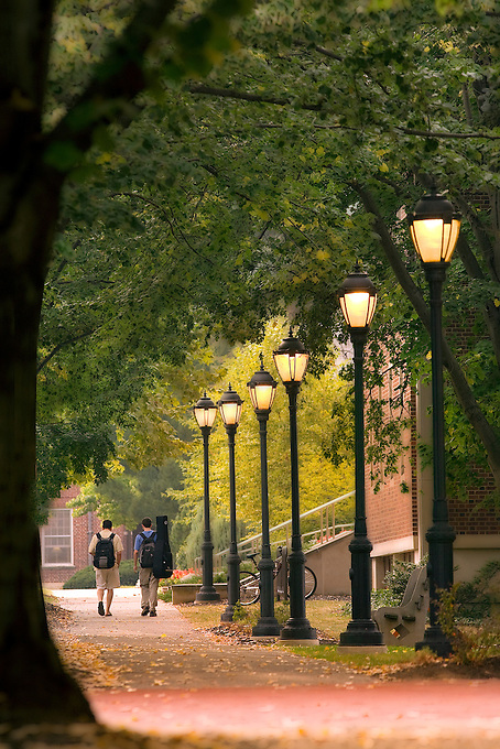A scenic photo of the Lafayette campus near the Markle Hall with the lamp post lights on..Cover Photo Alumni Magazine...4173