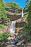 Kaaterskill Falls, a 260-foot high, two-drop waterfall located in the eastern Catskill Mountains of New York.