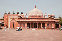 Fatehpur Sikri, Uttar Pradesh, India.  Tomb of Islam Khan, inside the compound of the Jama Masjid (Dargah Mosque).  Chhatris line the roof line.