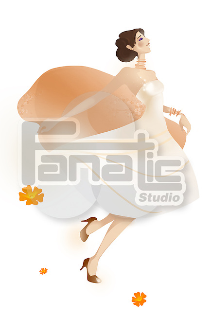 Illustrative image of woman representing lifestyle against white background