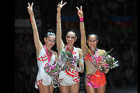 September 23, 2011; Montpellier, France;  All-Around winners are (L-R) DARIA KONDAKOVA, EVGENIYA KANAEVA of Russia and ALIYA GARAEVA of Azerbaijan at 2011 World Championships.