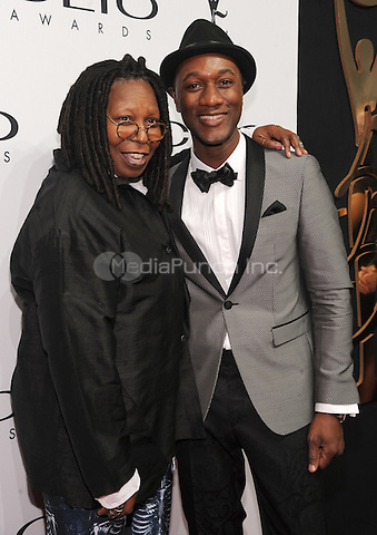 New York, NY- October 1: Whoopi Goldberg and Aloe Blacc attends the 2014 CLIO Awards on October 1, 2014 at Cipriani Wall Street in New York City.  Credit: John Palmer/MediaPunch
