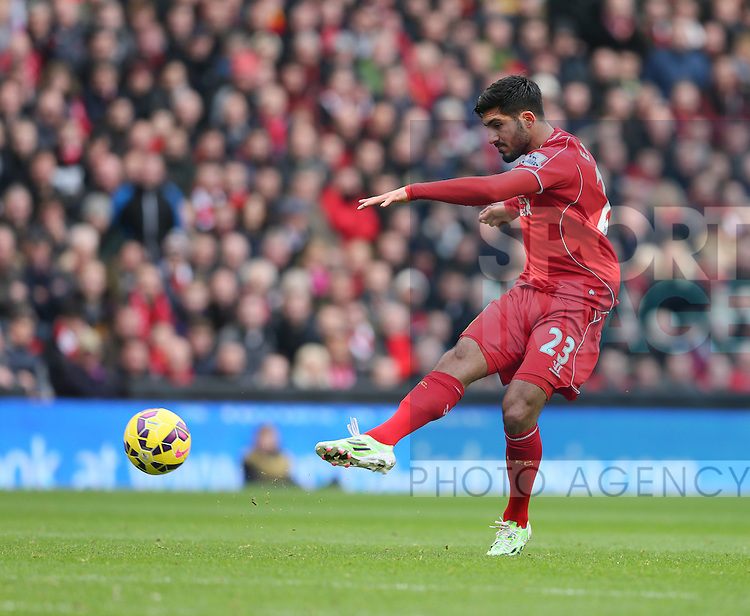 Emre Can of Liverpool scores the first goal  - Barclays Premier League - Liverpool vs Chelsea - Anfield Stadium - Liverpool - England - 8th November 2014  - Picture Simon Bellis/Sportimage