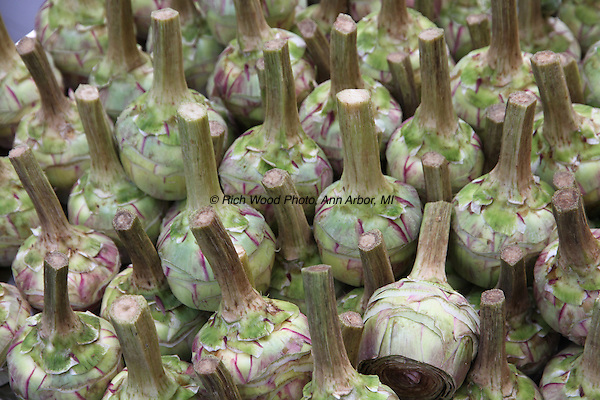 Trimmed artichokes waiting to be cooked in Rome