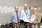 Conor Galvin, Full Risk Assessment Section Of The Office Of Public Works and Barry O'Connor of Mott MacDonalds Consultant Engineers with MEP Sean Kelly at the Public consultation day on the draft flood management for the local area at Castleisland Library on Friday