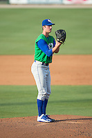 Lexington Legends starting pitcher Foster Griffin (33) looks to his catcher for the sign against the Kannapolis Intimidators at CMC-Northeast Stadium on May 25, 2015 in Kannapolis, North Carolina.  The Intimidators defeated the Legends 6-5.  (Brian Westerholt/Four Seam Images)