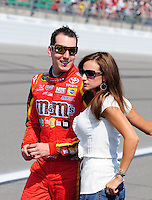 Sept. 28, 2008; Kansas City, KS, USA; Nascar Sprint Cup Series driver Kyle Busch with girlfriend Samantha Sarcinella prior to the Camping World RV 400 at Kansas Speedway. Mandatory Credit: Mark J. Rebilas-