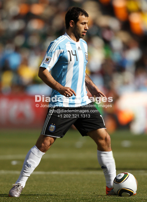 JOHANNESBURG - JUNE 17:  Team captain Javier Mascherano of Argentina in action during a  2010 FIFA World Cup soccer match against South Korea June 17, 2010 in Johannesburg, South Africa.  NO mobile use.  Editorial ONLY.  (Photograph by Jonathan P. Larsen)