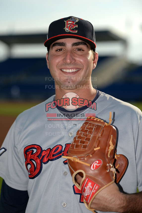 Brevard County Manatees pitcher Javier Salas (44) poses for a photo before a game against the Dunedin Blue Jays on April 23, 2015 at Florida Auto Exchange Stadium in Dunedin, Florida.  Brevard County defeated Dunedin 10-6.  (Mike Janes/Four Seam Images)