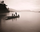 USA, Alaska, Redoubt Bay, fishing in Big River in Redouby Bay, Redoubt Bay Lodge (B&W)