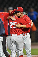 Pitchers Trevor Bettencourt (25) and Nick Fanti (20) of the Lakewood BlueClaws embrace after the two combined for a no-hitter against the Columbia Fireflies on Saturday, May 6, 2017, at Spirit Communications Park in Columbia, South Carolina. Fanti pitched a scoreless 8 and two-thirds, with Bettencourt picking up the final out for a 1-0 win. (Tom Priddy/Four Seam Images)