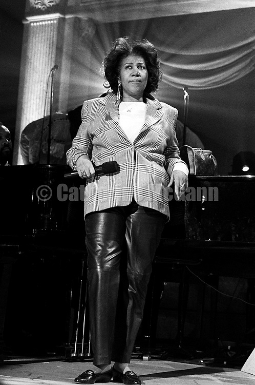 "NEW YORK - April 1993:  Aretha Franklin on stage at a rehearsal for the ""Aretha Franklin: Duets"" concert to benefit the Gay Men's Health Crisis at the Nederlander Theater in April 1993 in New York City, New York. The concert was taped and broadcast on the Fox Network on May 9, 1993. (Photo by Catherine McGann)Copyright 2010 Catherine McGann"